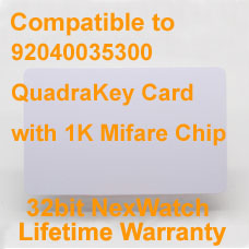 Honeywell 92040035300 QuadraKey Card with 1K Mifare Chip Compatible